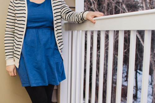 Blue Dress, Tights, and Stripes