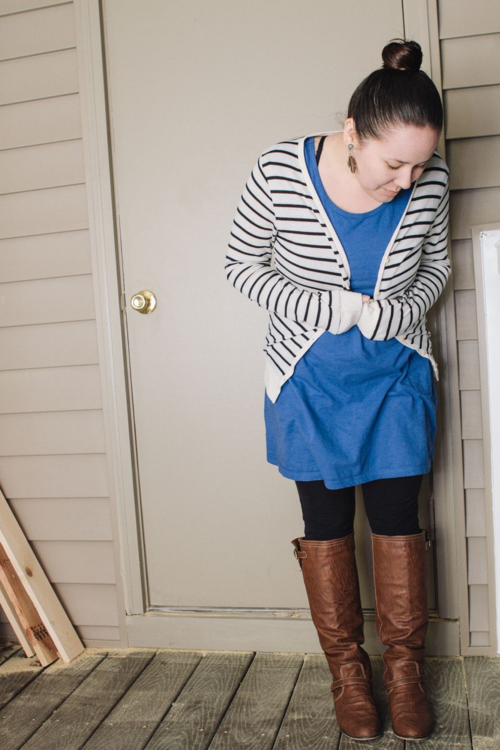 Blue Dress, Tights, and Stripes 2
